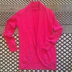 NY&Co Hot Pink Open Front Sweatshirt Cardigan